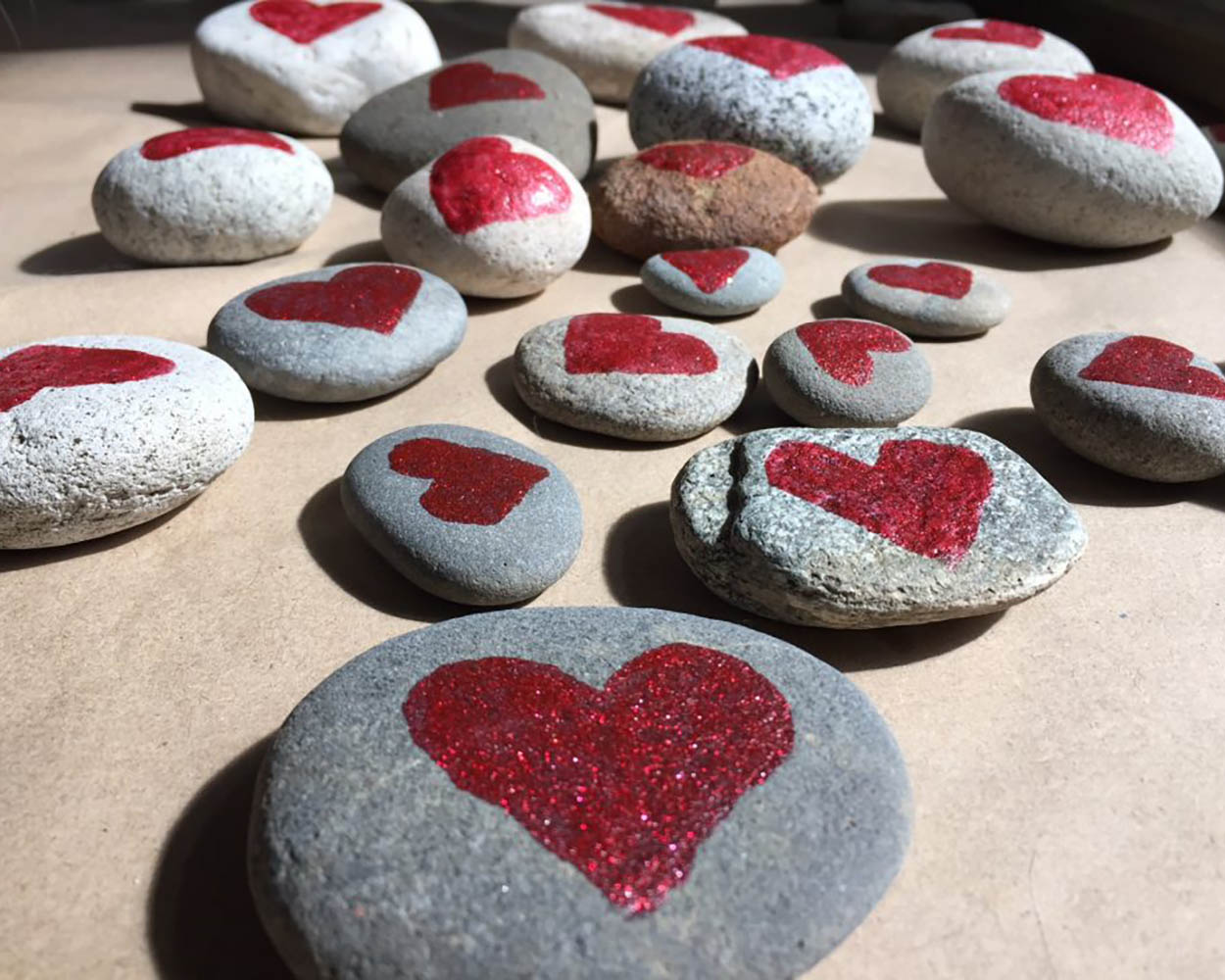 Ripple Effect Movement Painted Heart Rocks